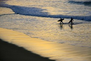 Surfers out of the water at sunset