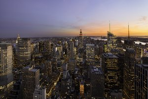 Colorful sunset over Manhattan, New