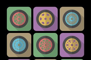 Set of icons of a car rims.