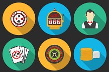 Colorful icon set on a casino theme.