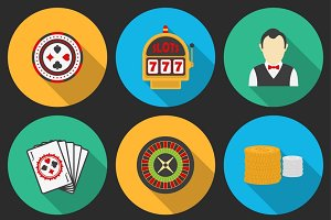 Colorful icon set on a casino theme.