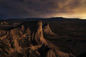 Moonrise over the desert of Bardenas