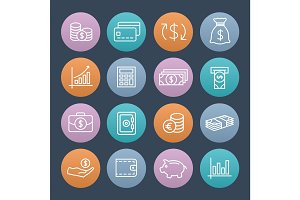 Money colorful icons