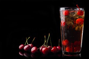 Refreshing cold cherry cola