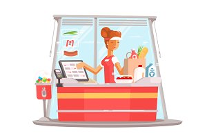 Young girl cashier