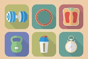 Set of 9 Fitnes Icons.