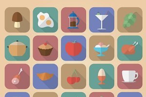 Set of 20 food and drinks icons.