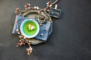 Spring concept with green tea