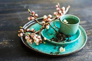 Spring concept with green tea