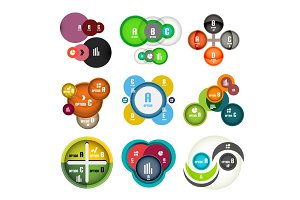 Set of vector circle shaped bubbles infographic design templates