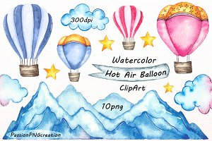 Watercolor Hot Air Balloon ClipArt