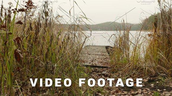 Bridge On The Lake Autumn Daytime Smooth Dolly Shot