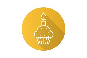 Easter cake and candle. Flat linear long shadow icon