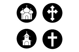 Christianity religion icons set