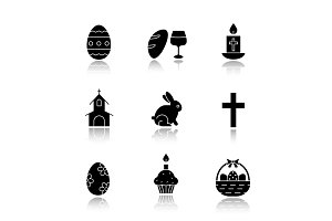 Easter drop shadow black icons set