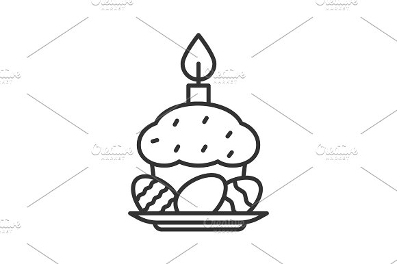 Easter Cake Eggs And Candle Linear Icon