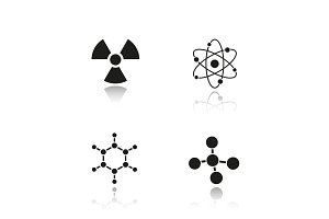 Chemistry and physics. Drop shadow black icons set