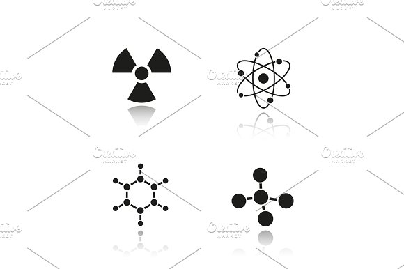 Chemistry And Physics Drop Shadow Black Icons Set
