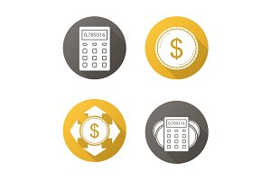 Banking and finance. Flat design long shadow icons set
