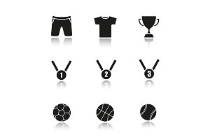 Sport equipment drop shadow black icons set