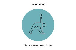 Trikonasana yoga position linear icon