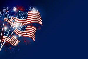 USA flag with fireworks design