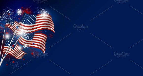USA Flag With Fireworks Design