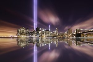 Tributes lights over the skyline
