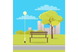 Bench in City Park Flat Vector Illustration