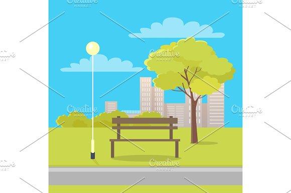 Bench In City Park Flat Vector Illustration