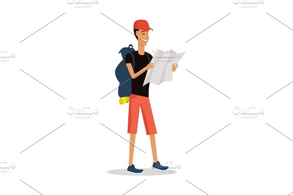 Smiling Young Man In Shorts With Backpack And Map