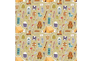 Camping stickers in hand drawn style vector seamless pattern