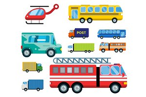 Transport delivery vector isolated white transportation car bus van fire truck helicopter silhouette icon business logistic shipment set