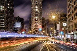 Night light trails, New York