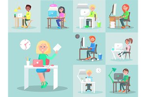 Characters Work at Computer in Office. Big Set