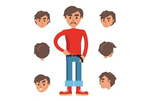Man Constructor. Character with Set of Six Heads