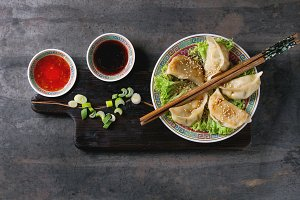 Gyozas potstickers with sauces
