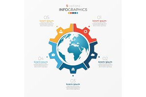 Circle chart infographic template with globe 5 options