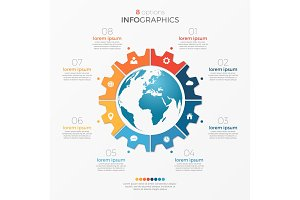 Circle chart infographic template with globe 8 options