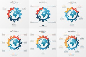 Set of gear wheel style chart template with globe inside