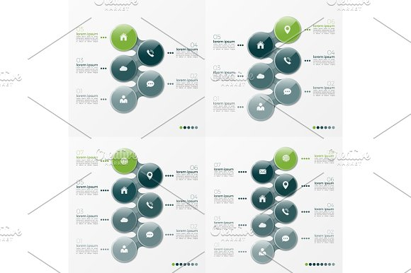 Vector Infographic Set Of Designs With Ellipses 5-8 Options