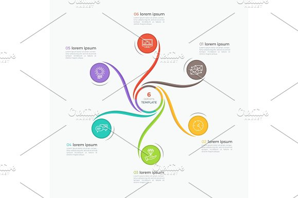 Swirl Style Infographic Template With 6 Options