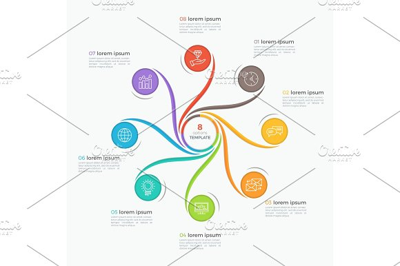 Swirl Style Infographic Template With 8 Options