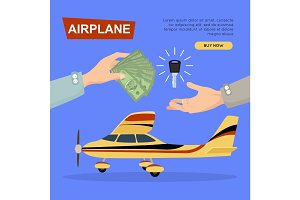 Buying Airplane Online. Plane Sale. Web Banner.