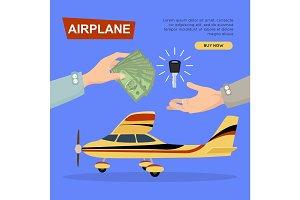Buying Airplane Online. Plane Sale. Web Banner.