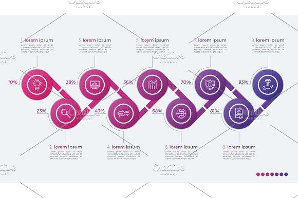 Timeline Vector Infographic Design With Ellipses 9 Steps
