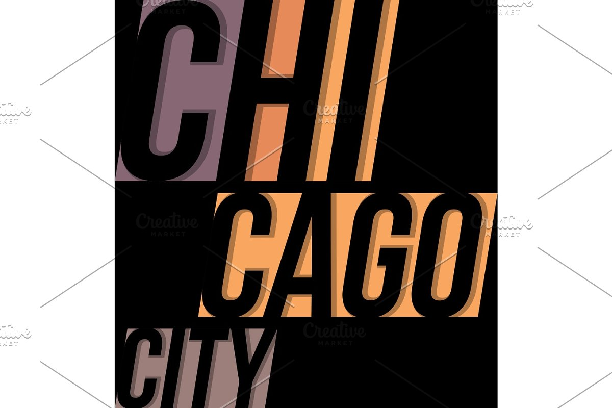 cf7b9134 Chicago t-shirt tee design typography print graphics. ~ Illustrations ~  Creative Market