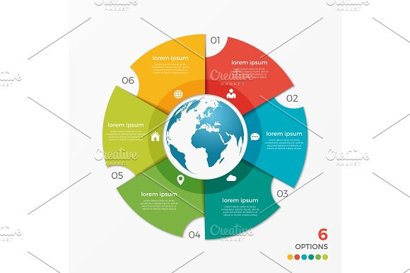 Circle Chart Infographic Template With Globe 6 Options