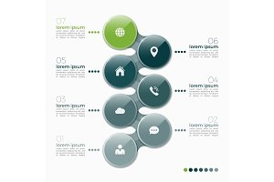 Vector 7 option infographic design with ellipses