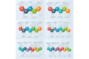Set of timeline chart infographic templates with 5-10 options